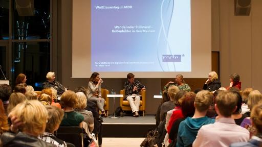Weltfrauentag beim MDR;Wandel oder Stillstand - Rollenbilder in den Medien; Veranstaltung am 10.03.2014 in der 13. Etage der MDR-Sendezentrale in Leipzig.