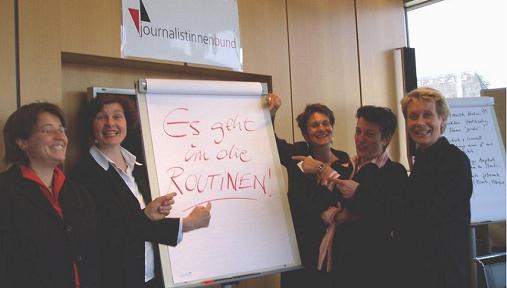 """Auftakt zum Projekt """"Der G-Faktor"""" im Hessischen Rundfunk. V.l.n.r. Elke Amberg, Lisa Sterr, Birgitta M. Schulte, Ulrike Helwerth, Sabine Stadtmüller (Foto: privat)"""