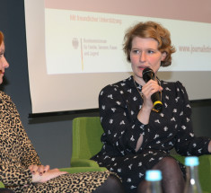 """Medienlabor """"BRIGITTE geht in Rente – Wer sind die Enkelinnen?"""" . Links: Theresa Bücker,Editions F, rechts Stefanie Lohaus / Missy Magazin"""