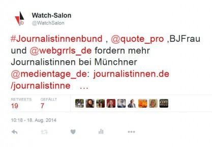 Beispieltweet: Journalistinnenbund, Proquote u.a. fordern mehr Journalistinnen bei den Münchener Medientagen