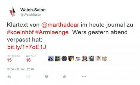 """Tweet vom 8.1.16 mit Hinweis auf Fernsehbeitrag """"Klartext"""" von Anne Wizorek im Heute Journal am Vorabend."""