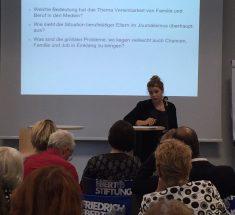 Leonie Schulte stellt ihre Vereinbarkeits-Studie bei einer Fachtagung der Friedrich-Ebert-Stiftung vor (Foto: FES)
