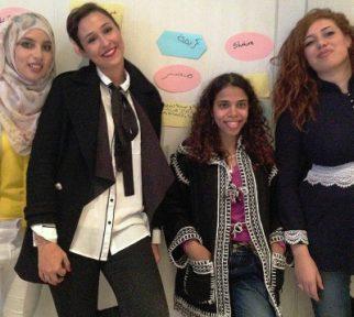 Vier arabische Journalistinnen in bester Stimmung beim Treffen der Deutsche Welle-Akademie