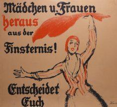 Gezeichnetes Wahlplakat von 1919: Frau wedelt mit einem Tuch