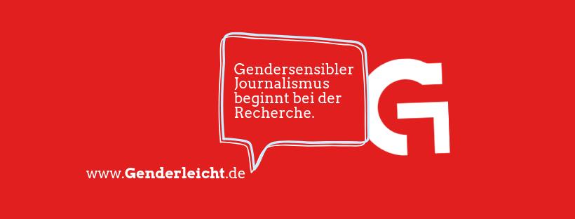 """Logo der Webseite Genderleicht: Textblase mit """"Gendersensibler Journalismus beginnt bei der Recherche."""" www.genderleicht.de"""