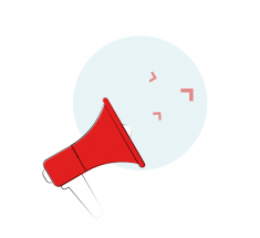 Bildelement der Seite Genderleicht.de: ein rotes Megafon