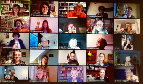 Screenshot Online-Treffen zum 33. Jubiläum des Journalistinnenbundes