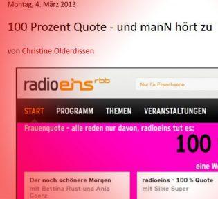 Ausschnitt Aufmacherbild eines Watch-Salon-Posts über Quotenaktion bei radioeins